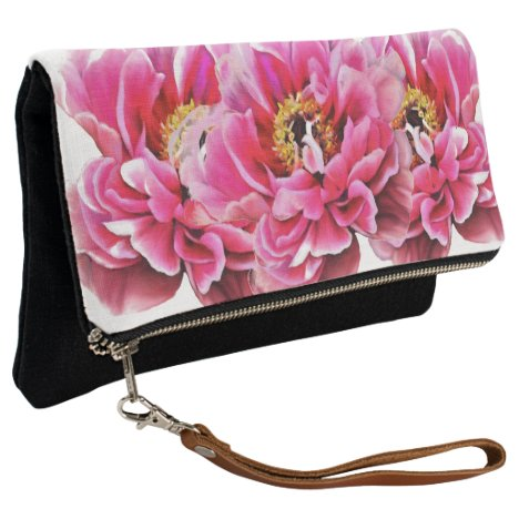 Fold Over Clutch Pink Peonies