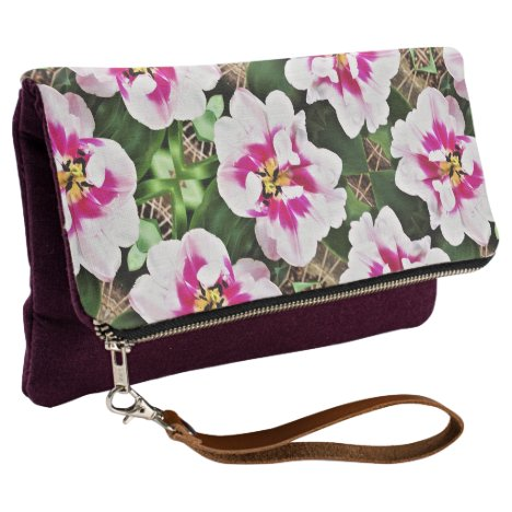 Fold Over Clutch Pink Tulips