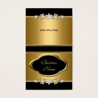 Fold Over Elegant Gold Black Jewel Image Business Card