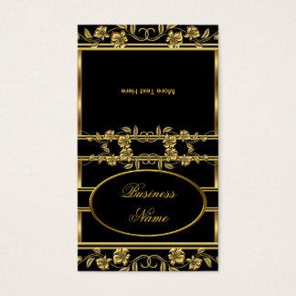 Fold Over Elegant Gold on Gold Black Florakl Business Card