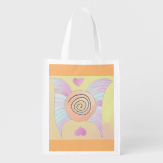 Foldaway Re-useable Bag Angel Wings / Hearts Art