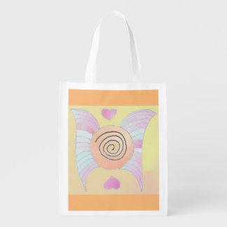 Foldaway Re-useable Bag Angel Wings / Hearts Art Grocery Bags