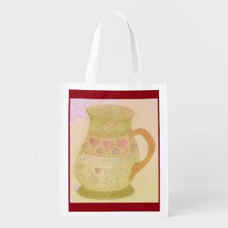 Foldaway Re-useable Bag Fun Love Jug / Hearts Reusable Grocery Bags