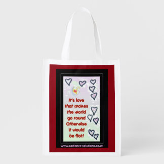 Foldaway Re-useable Bag Fun Love Quote / Hearts Reusable Grocery Bags