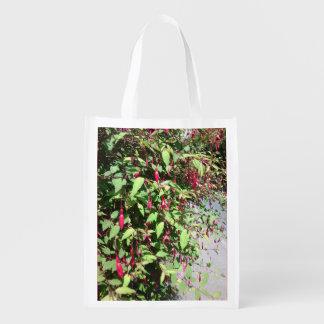 Foldaway Re-useable Bag Fuschia Flowers Reusable Grocery Bag