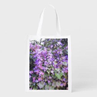 Foldaway Re-useable Bag Purple / Mauve Flowers Grocery Bag