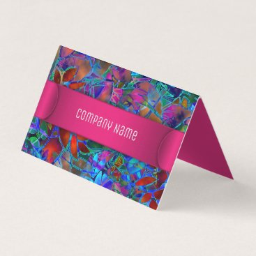 Professional Business Folded Business Card Floral Abstract Stained Glass