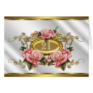 Folded Card 21st Birthday Pink Gold Roses White 3