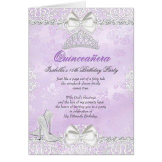 Folded Card Purple Quinceanera Invitation