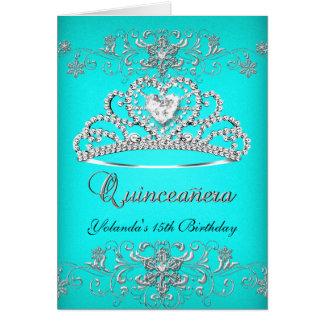Folded Card Quinceanera Aqua Teal Glitter Tiara