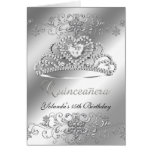 Folded Card Quinceanera silver Glitter Tiara