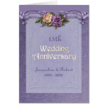 Folded Damask  Roses Purple 15th Anniversary Greeting Card