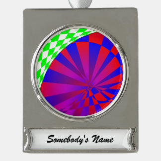 Folded Dimensions Silver Plated Banner Ornament
