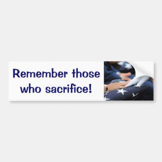 Folded Flags Memorial Car Bumper Sticker