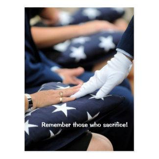 Folded Flags Memorial Postcard