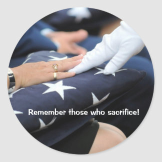 Folded Flags Memorial Classic Round Sticker