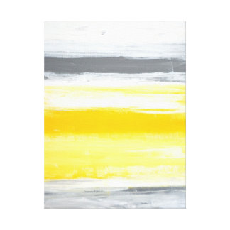 'Folded' Grey and Yellow Abstract Art Canvas Print