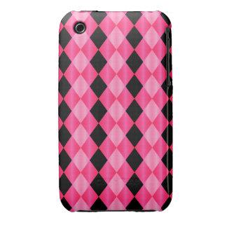Folded Harlequin, Pink-Black iPhone 3g/3gs Case