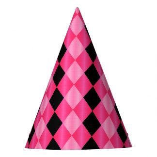 Folded Harlequin,Pink-Black-PAPER PARTY HATS