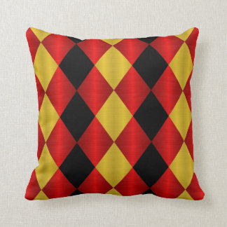Folded Harlequin Throw Pillow, Gold n Red Throw Pillows
