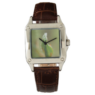 Folded Leaves Perfect Square Brown Leather Watch