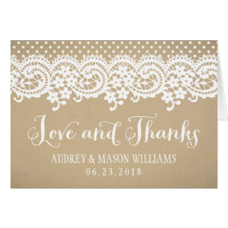 Folded Love and Thanks Card   Kraft Brown