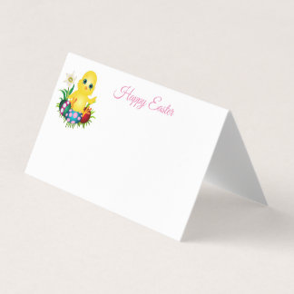Folded Name Place Card-Easter Chick Place Card