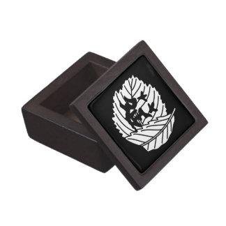 Folded oak leaf worm-eaten gift box