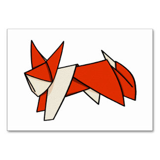 Folded Paper Fox Orgami Card