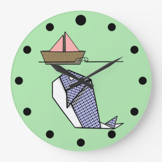 Folded Paper Whale Moby Dick Large Clock