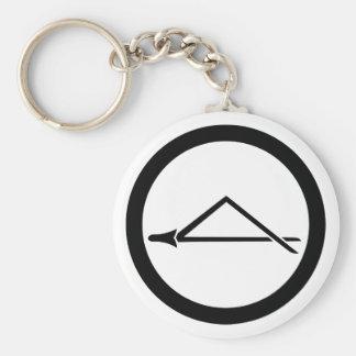 Folded pine needle in circle keychain
