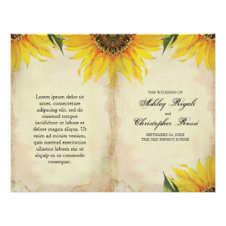 Folded Sunflower Wedding Program - Vintage