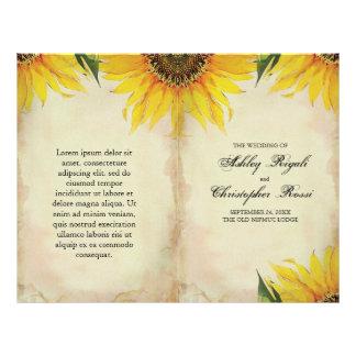 "Folded Sunflower Wedding Program - Vintage 8.5"" X 11"" Flyer"