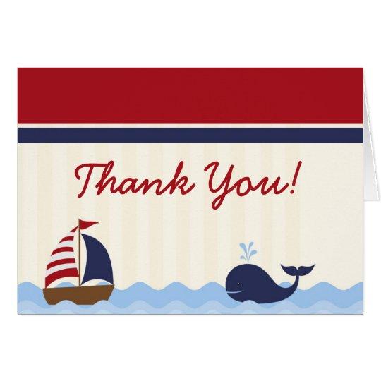 Folded Thank you Card Ahoy Nautical Whale Boat
