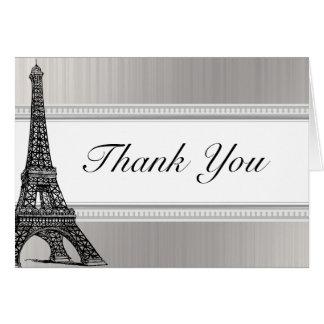 Folded Thank You Card Black Eiffel Tower