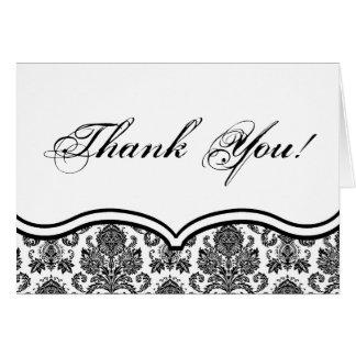 Folded Thank You Card Black White Damask Lace Prin