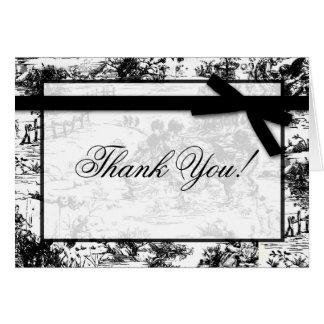 Folded Thank you Card Black White Toile Fabric