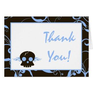 Folded Thank You Card Boy Blue Punk Skull Flame