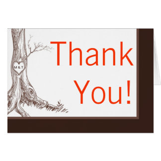 Folded Thank You Card Fall Tree Initial Carvings