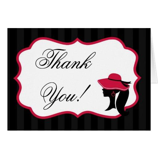 Folded Thank You Card Formal Hats Elegant Retro