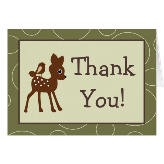 Folded Thank You Card Forrest Animal Owl Deer Bird