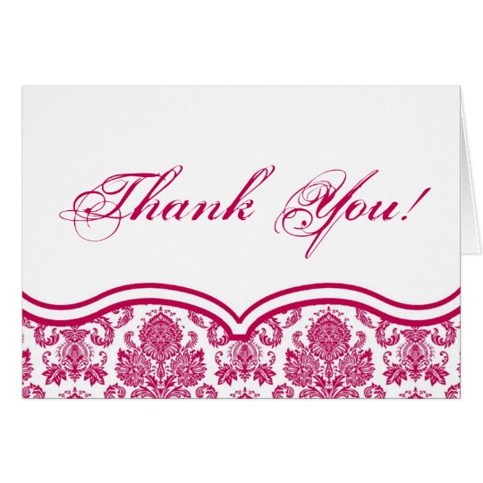 Folded Thank You Card Fusia White Damask Lace Prin