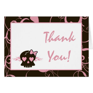 Folded Thank You Card Girly Girl Pink Punk Skull
