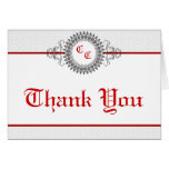Folded Thank You Card Gray Red Formal Print