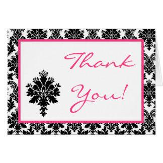 Folded Thank you Card Hot Pink Black Damask