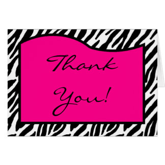 Folded Thank you Card Hot Pink Zebra Print