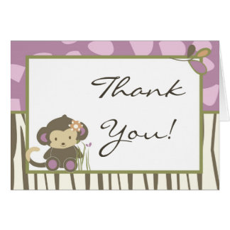 Folded Thank You Card Jacana Girl Jungl Zoo Animal