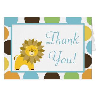 Folded Thank you Card Jungle King Lion Safari Zoo