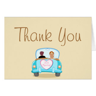 Folded Thank You Card Just got Married Couple car