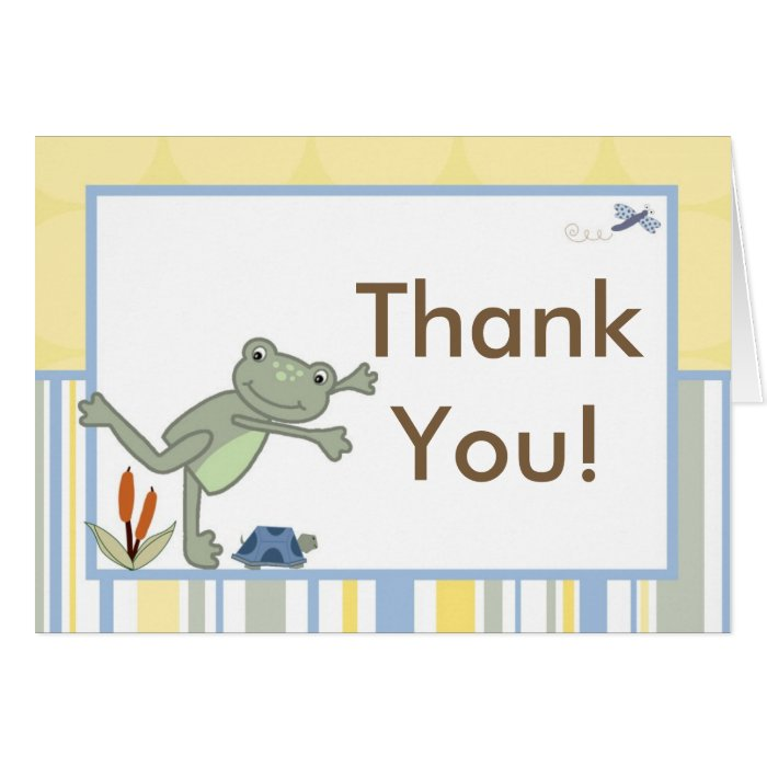 Folded Thank you Card Leap Frog Turtle Bee